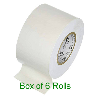 White Adhesive Tape - Box of 6 rolls / 2 inches wide x 10 yards long